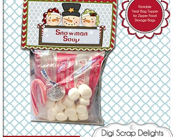 Snowman Soup Printable Bag Topper - Gifts for Neighbors,  Sunday School or Party Favors, Red, Green Chevron Instant Download