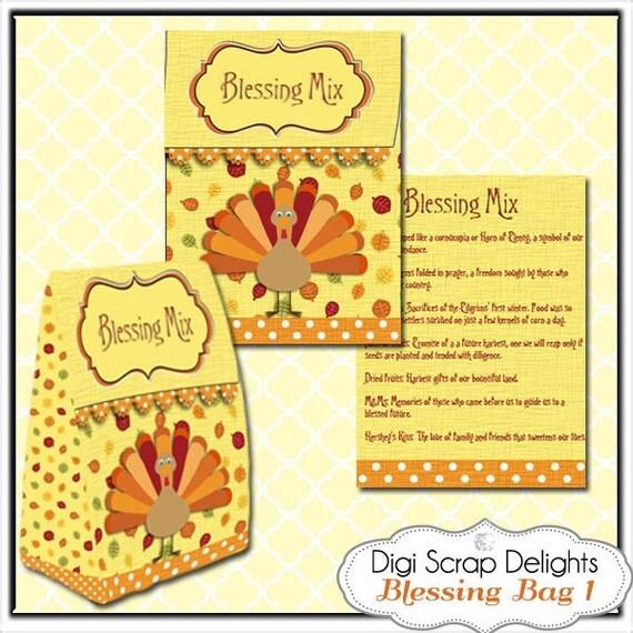 Thanksgiving Blessing Mix Printable Gift Bag, Easy Topper Treat Bag ...