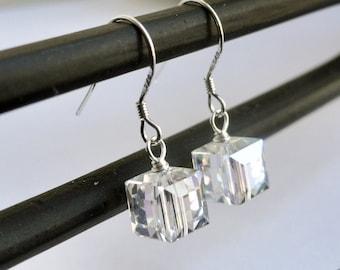 Swarovski earrings - sterling silver earrings - crystal cube earrings - swarovski moonlight 8mm - bridal earrings - silver cube earrings