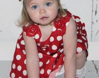 Red Polka Dots Dress - Baby Shower Gift - Baby Girl - Children Clothing - Toddler Girls - Nursery - Red - KK Children Designs - 3M - 4T