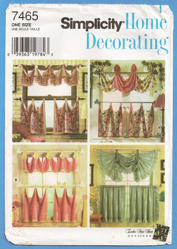 Country kitchen curtains tiers valances sewing pattern - Kitchen curtain patterns ...