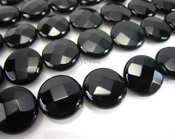 high quality black onyx faceted coin 16mm 15 inch strand