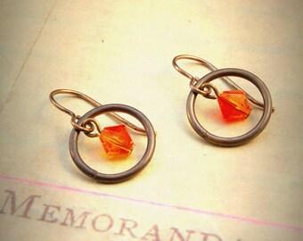 Vibrant Firey Crystal Brass Artisan Earrings - OLD STOCK