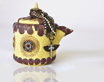 Yellow Polymer Clay Teapot Planter Metallic Copper, Silver, & Gold cane, Antiqued Bronze Trinkets and Crystals