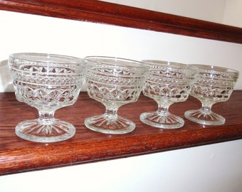 """4 ANCHOR HOCKING WEXFORD Pressed Crystal Champagne Tall Sherbert Criss Cross Glasses Goblets Stems 3 5/8"""" High Four Set Excellent Condition"""