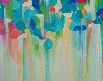 """Abstract Colorful Painting Rain Clouds Designer Child's Room Art 12"""" x 12"""""""