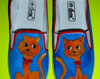 Hand Painted Slip On Canvas Shoes-Twin Tabby Cats