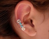Ear Cuff, Ear Wraps, Earcuff, Single Silver Plated Ear Cuff with Double Turquoise color 3mm beads and swirls