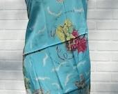 Vintage Scarf Blue Aqua Marine Souvenir De Bruxelles Scarf Fabric or Table Cloth