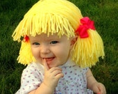 Cabbage Patch Wig Baby Girl Hat Cabbage Patch Inspired Hat Yellow Yarn Wig Raggedy Ann Yarn Wig- Baby Photo Prop- Girl Costume Pageant
