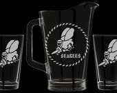 USN Seabees Beer Pitcher Set, Personalized (Seabee) US Navy