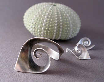 Handmade Jewelry Set of Spiral Sterling Silver Ring & Earrings