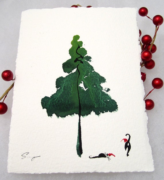 Christmas Tree Made Of Black Cats: Cute Cat Christmas Card. Hand-painted Holiday By 2forksdesign
