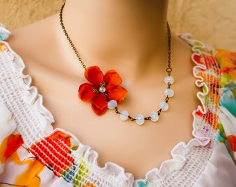orange flower necklace, Flower Necklace, cherry blossom necklace, opal necklace