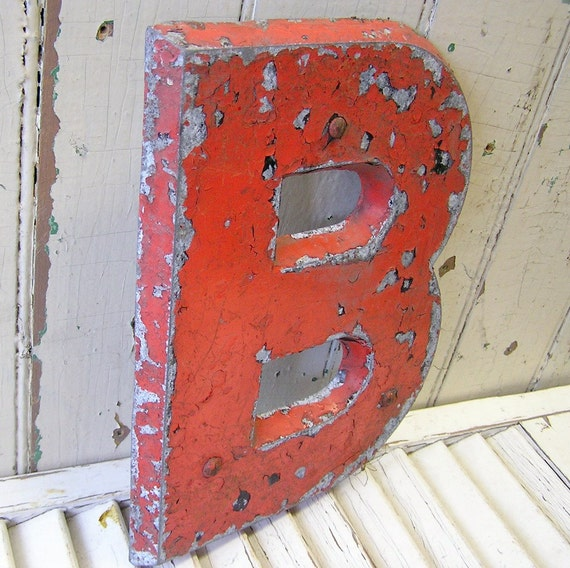 vintage metal letter B, other letters available