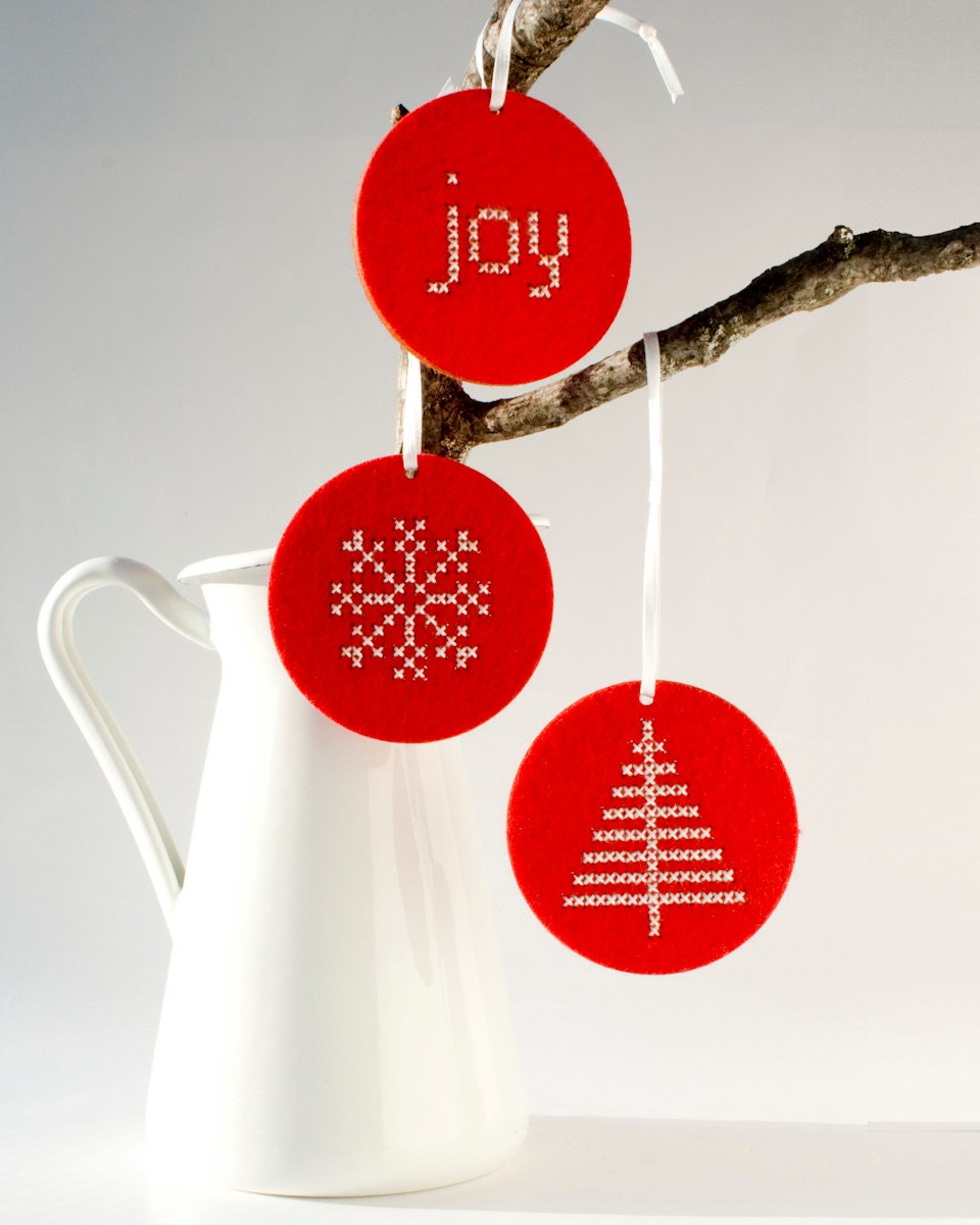 Diy Christmas Ornaments Etsy : Diy christmas ornament kit set of wool felt ornaments with
