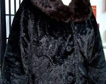 vintage 1950s mink collar Mad Men jacket- large