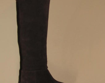 Knee High PIRATE Boots // Vintage I. MILLER Suede Leather Women's size 8/38 Brazil Fold Over