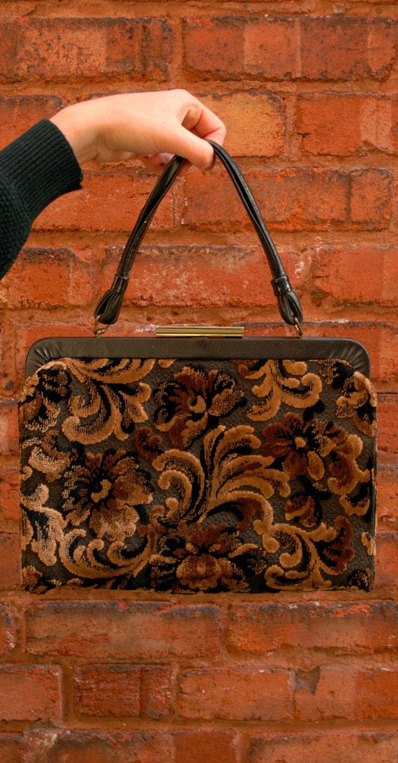 Vintage 1960s Velvet Brocade Handbag / Brown and Black Patterned Purse with Black Leather Handle / Yellow Cotton Lining