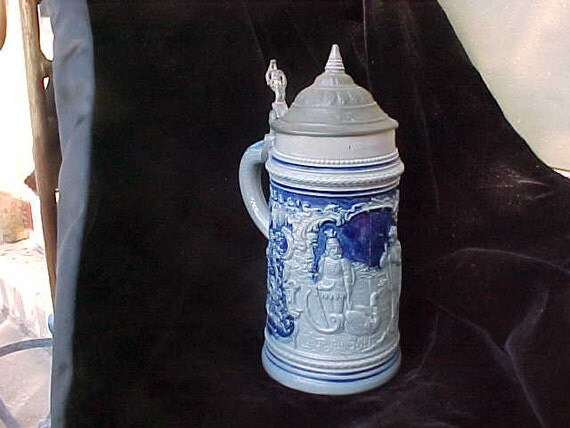 Stein  Salt Glazed Antique Beer Stein Pewter Lid  REDUCED  Medieval Scene 1900s Germany- Loads of that magical aura