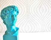 Small David Bust Statue with cube base in turquoise