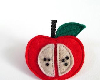 red apple brooch