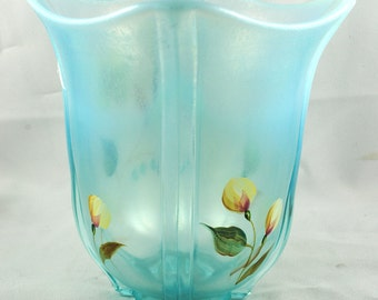 FREE SHIPPING 1960's 1960s Signed Art Glass Fenton Opalescent Hand Painted Blue Glass w Yellow Flowers