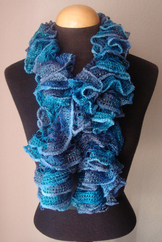 Infinity Knitted Scarf Pattern : Items similar to SOLD,Sashay, Knitted Blue Ruffle Scarf on Etsy