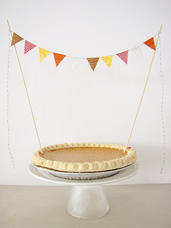 Fabric Cake Bunting Decoration - Cake Topper - Thanksgiving, Fall Wedding, Birthday Party, Shower Decor in autumn harvest
