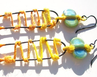 SALE! Flying Ladder-Bright Earth- handmade lampwork bead enameled pin and hand spun fiber wire mixed-media earrings in seafoam yellow
