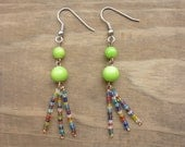 Copper, Green, and Rainbow Seed Bead Earrings