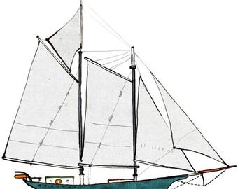 Schooner Pioneer: ship print / nautical illustration