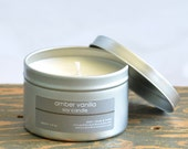 Amber Vanilla Soy Candle Tin 8 oz. - vanilla candle - musk candle - unisex candle - fall candle - winter candle - holiday candle