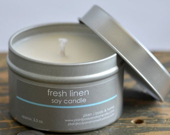 SALE - Fresh Linen Soy Candle Tin 4 oz. - fresh linen candle - spring candle - summer candle - musk candle - fresh scent candle
