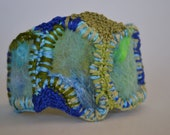 "Wool Bracelet, Felted and Embroidered Upcycled Button, Handmade, One of a Kind, ""Puzzled"""