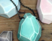 large faceted stone necklace, glazed porcelain