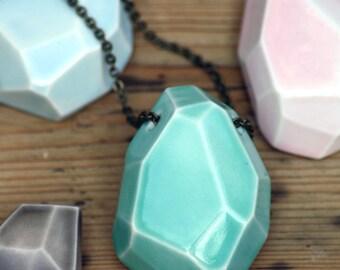 large faceted stone necklace, glazed porcelain