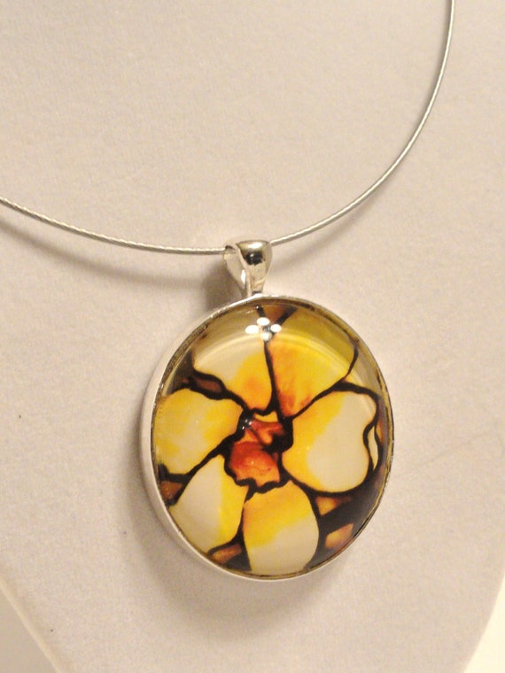 Large Art Glass Pendant - Cream Flower - Necklace Included