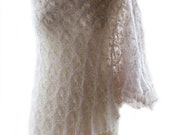 Light beige  hand knitted kidsilk lace shawl/ stole