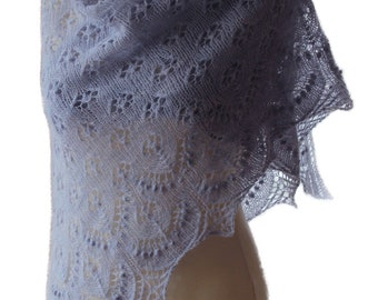 Hand knitted luxurious  Extrafine Merino wool shawl Color:  sky blue pearl