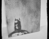 Batman Foggy Night in Gotham Textured Spraypaint Art Atmospheric Dark Hero Gloom Introspective