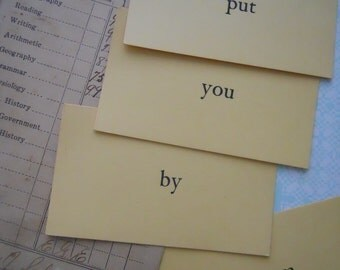 Dozen Vintage Classic Sepia Word Flash Cards