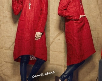 Red Tunic Dress / Longsleeve Winter Linen Dress Shirt Dress - Custom Made