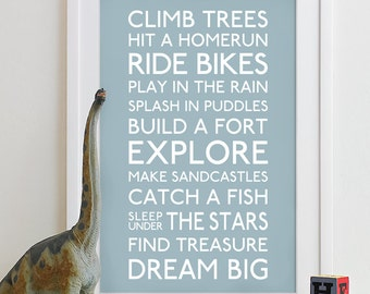 Baby boy nursery decor, boy wall art, baby boys room, boys decor, boy nursery wall art, boy print Family Playroom Rules Sign Quote Art