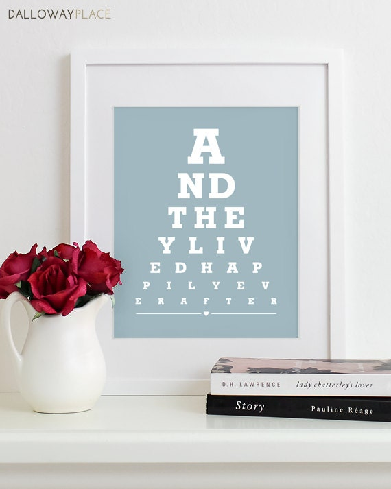 Wedding Anniversary Gifts By Year Chart: Wall Art Print Eye Chart Anniversary Gift Wedding Shower