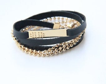 Arm wrap - 3 times- Black leather and 24k gold plated chain