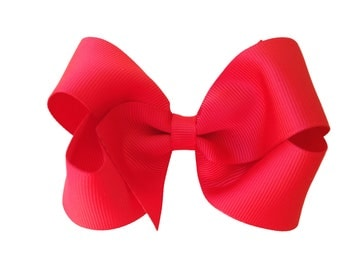 Red boutique bow - red hair bow, 4 inch bow, toddler bow, boutique bows, girls hair bows, girls bows, red bows, hair clips