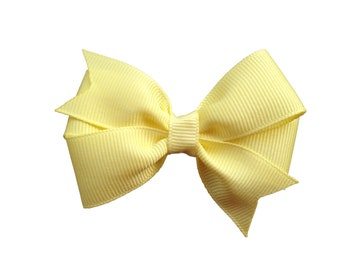 Light yellow hair bow - light yellow bow, toddler bow, baby bow, pinwheel bows, girls hair bows, girls bows, yellow hair bows, hair clips