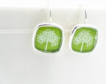Tree Earrings | Green Silver Square Earrings Inspired by Nature