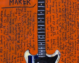 Joan Jett Artwork. Guitar Art. Gibson Melody Maker Vintage electric guitar 11x17 art print.